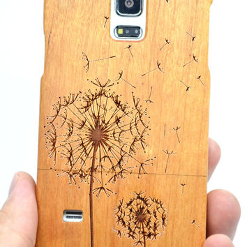 Samsung S5 Mini Wood Case - Cherry Wood Dandelion - Handmade Wooden Case and Cover for Your Smartphone and Tablet