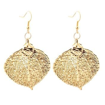 Real Gold leaf Earrings Aspen Leaf - Small