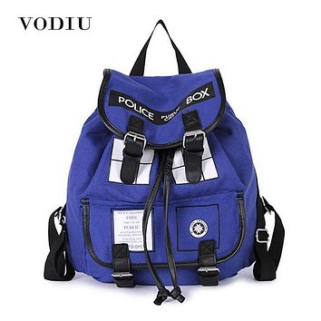 Women Backpack Men Schoolbag Dr.Who Tardis Buckle Teenage Backpacks For Girls Drawstring Bags Female Canvas Male Laptop Backpack