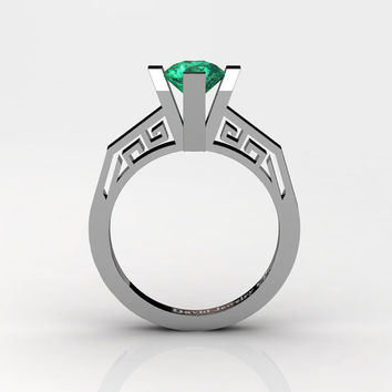 Modern Classic 14K White Gold 1.0 Carat Emerald Bridal Solitaire Wedding Ring Engagement Ring R1024-14KWGEM