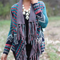 Bohemian Dream Fringed Cardigan in MARINE - What's New