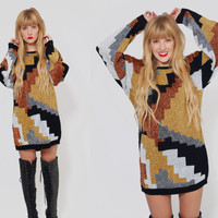 Vintage 80s OVERSIZED Sweater Black Gold & Bronze GLITTER Geometric Tunic Relaxed Jumper  Holiday Sweater Dress