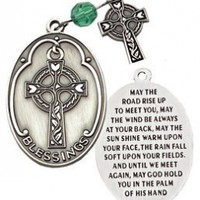 P-05 Celtic Irish Pocket Prayer Medallion with Celtic Cross and Emerald Color Prayer Bead