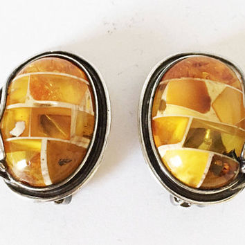Vintage Sterling Silver Clip On Earrings, Art Nouveau Yellow and Orange Baltic Amber Earrings, Oval Stained Glass Jewelry