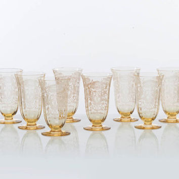 1930s Fostoria Topaz Footed Tumblers, Yellow Glass Goblets, Etched Floral Pattern, Art Nouveau Set of 8 - 8 oz Glasses