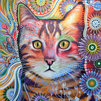 "Amy Giacomelli Cat art ... Abstract cat Art ... Olivia, 8 1/2"" x 11"" Print of cat painting"