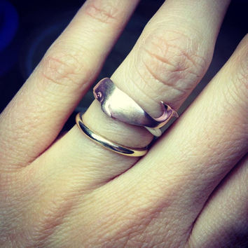 Wondrous Whale Ring Sterling Silver Band and Brass