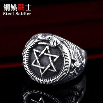 steel soldier popular Star of David Hexagram Fashion ring with snake hexagon design men jewelry as gift