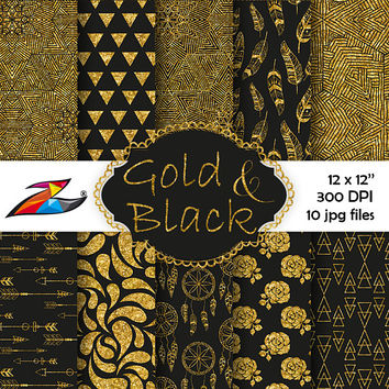 Labor Day Sale Black Gold Digital Paper Party scrapbooking background gold glitter tribal digital paper boho pattern commercial use