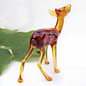 Vintage Artisan Made Glass Deer made in Norway purchase in 1959 Translucent Amber Glass Menagerie Very Fine Spotted Fawn Figurine, Art