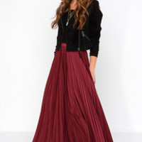Back in a Minute Burgundy Maxi Skirt