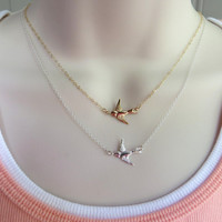 Tiny Bird Necklace. Sideways Bird Necklace. Gold or Silver Sparrow Pendant Necklace.