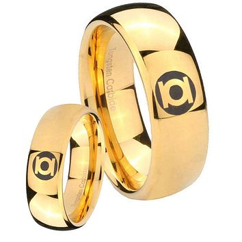 His Her Glossy Dome Green Lantern 14K Gold IP Tungsten Wedding Rings Set