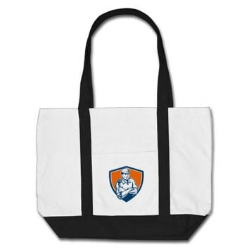 Mechanic Holding Spanner Arms Crossed Shield Retro Tote Bag