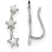 Sterling Silver Rhodium-plated Star Ear Climber Earrings QE13385