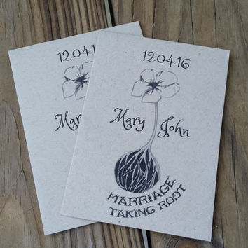 25 Wedding/Bridal Shower Seed Packet favors - Marriage Taking Root