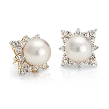 South Sea Cultured Pearl and Diamond Halo Earring in 18k Yellow Gold (10-10.5mm) | Blue Nile