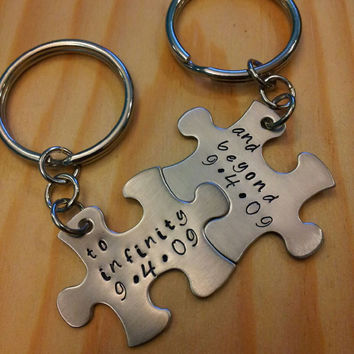 Hand Stamped Keychain - Personalized Keychain To Inifinity and Beyond with Dates Couples Puzzle Piece