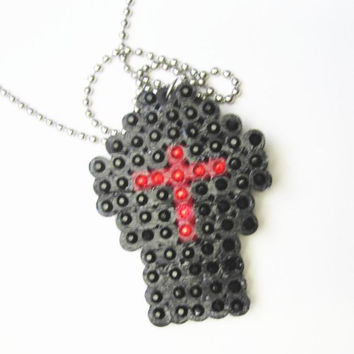 Sparkly Black Coffin With Red Cross Rhinestone Crystal  Necklace
