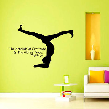 Quote The Attitude of Gtatitude Is The Highest Yoga Girl Gym Sport People Decal Vinyl Sticker Decor Home Interior Design Art Murals M781