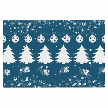 "Famenxt ""Merry Merry Christmas"" Blue White Holiday Illustration Decorative Door Mat"