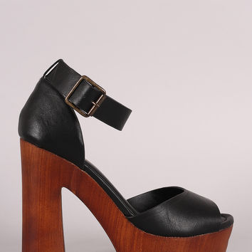 Bamboo Ankle Strap Chunky Wooden Platform Heel