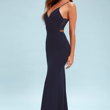 Love Story Navy Blue Backless Lace Maxi Dress