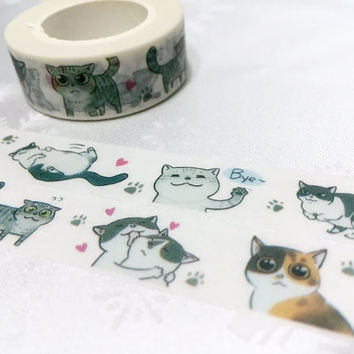 Cat washi tape 10M x 1.5CM grey cat Cute cat washi masking tape cartoon cat pussy cat sticker tape cat planner diary scrapbook meow gift
