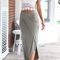 Spaghetti Strap Lace Tank Top with Bodycon Maxi Skirt
