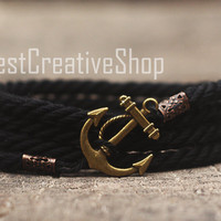 SALE! Anchor Bracelet / Black Bracelet / Sea Nautical Cotton Bracelet / Marine Rope Bracelet / Mens Bracelet Women and Men Rope Bracelet
