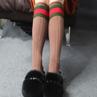 Autumn and winter tube socks College lettering cotton knit cotton socks