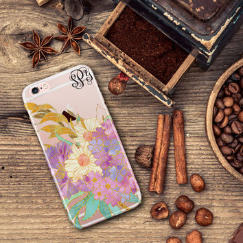 Birthday present for grandmother, Pretty iPhone 7 clear case with design, Floral Iphone 6s case, Transparent Iphone 6 plus for her (1718)