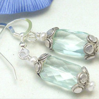 Blue Faceted Rectangle Glass Earrings Freshwater White Pearl Sterling