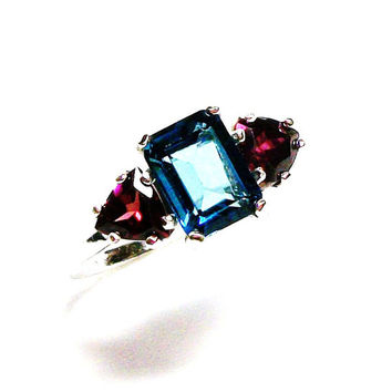"Topaz, london blue topaz, emerald cut ring,  3 stone ring, blue red, anniversary ring, s 6 3/4  ""Independance"""
