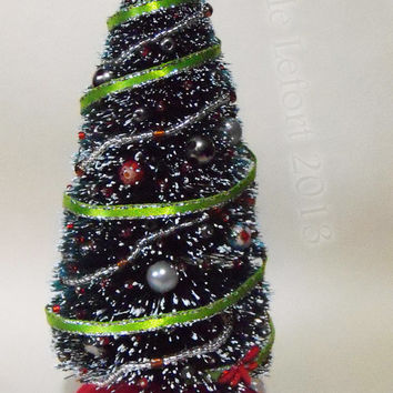 Miniature Decorated Bottle Brush Christmas Tree - One Inch Scale