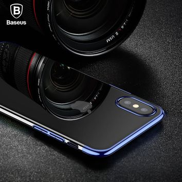 Baseus transparent Case For iphone X 8 7 Cases Glitter Series Plating Hard PC Plastic Shell for iPhone X 8 7 plus Back Cover
