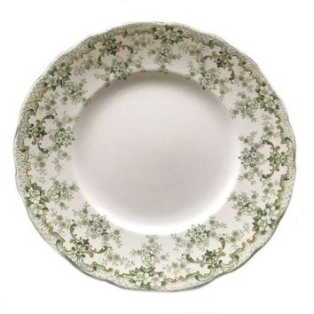 Antique Plate Green White Floral Upper Hanley England Kings Border The Court