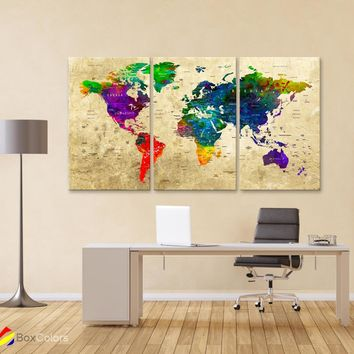 "LARGE 30""x 60"" 3 panels 30x20 Ea Art Canvas Print Watercolor Map World Push Pin M1829"
