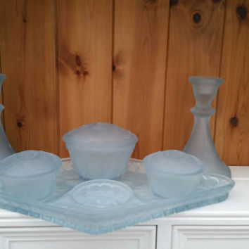 Blue frosted glass dressing set/art deco vintage trinket set/1940s vanity set/Christmas gift /wedding gift