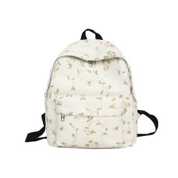 School Backpack trendy Tuladuo Fresh Style Backpack Female School Bags for Teenage Girls Lace Flower Backpack Canvas Travel Backpack Mochila Embroidery AT_54_4