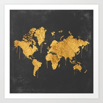 Gold World Map Art Print by Lady Violet