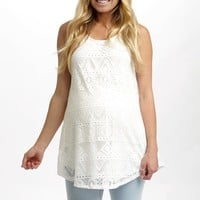 White Eyelet Lace Maternity Tank Top