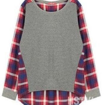 Women's Casual Patchwork Plaid Loose Fitting Top