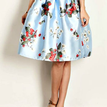Ice Blue Floral Skirt