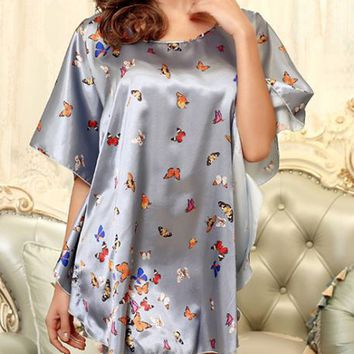 Casual Butterfly Batwing Sleeve Nightgown