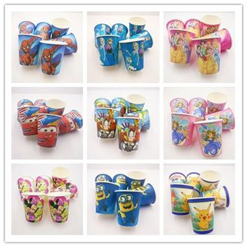 10pcs/set Frozen Anna And Elsa Lightning Mcqueen Mickey Mouse Minions Sofia Princess Moana Kid Party Supplies Disposable Cup