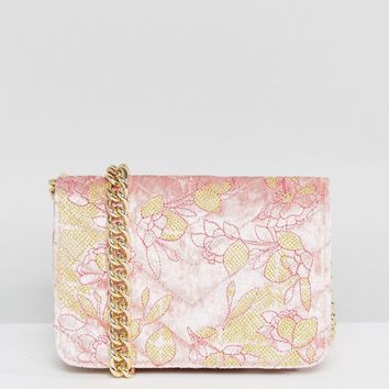 ASOS Embroidered Quilted Velvet Cross Body Bag at asos.com