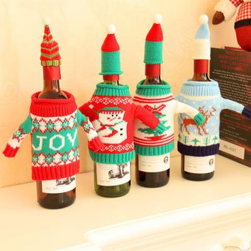 1 Set Red Wine Bottle Cover Bags Cute Sweater Christmas Tree Dinner Table Decoration Clothes with Hats Home Party Decors