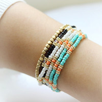 Beaded wrap bracelet - Beads Bracelet -choose your color