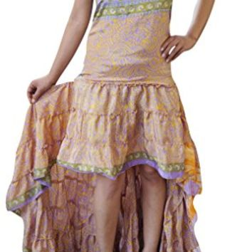 Womens Hi Low Dress Recycled Silk Feminine Touch Ruffle Tiered Design Flowy Strapless Sundress: Amazon.ca: Clothing & Accessories